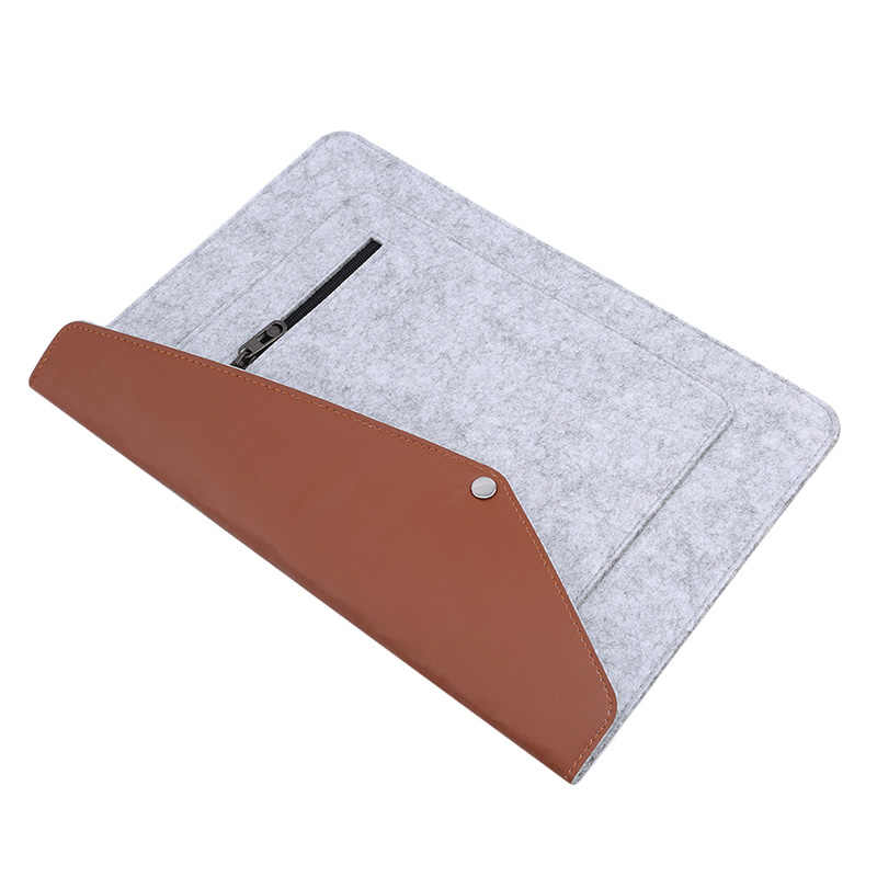 2020 caliente 13 pulgadas gris claro de moda de negocios de alta calidad de fieltro de tela del ordenador portátil forro bolsa de lana de fieltro cubierta protectora de ordenador