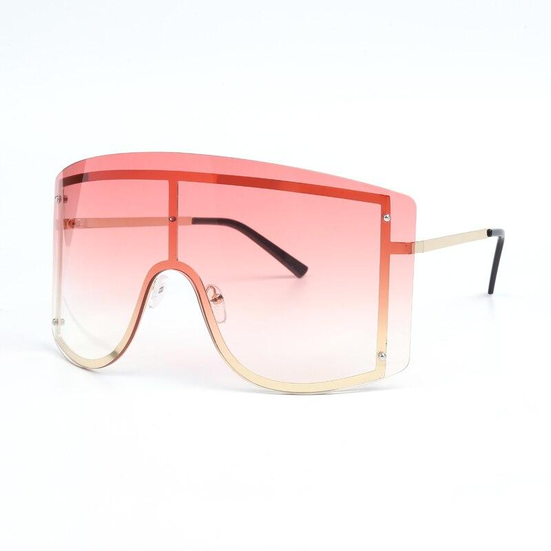 Oversized Women Blue Yellow Gradient Sunglasses Fashion Rimless Metal Female Shades Luxury Brand Designer Personality Eyewear 12