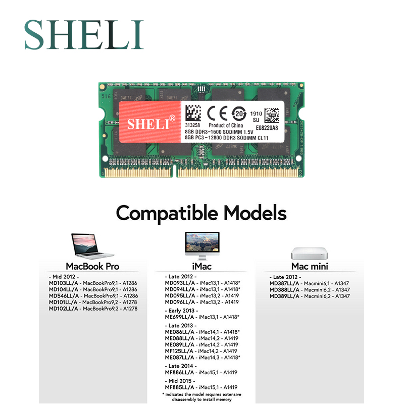 SHELI 8GB PC3 12800 DDR3 1600MHz SODIMM Memory RAM for font b APPLE b font font