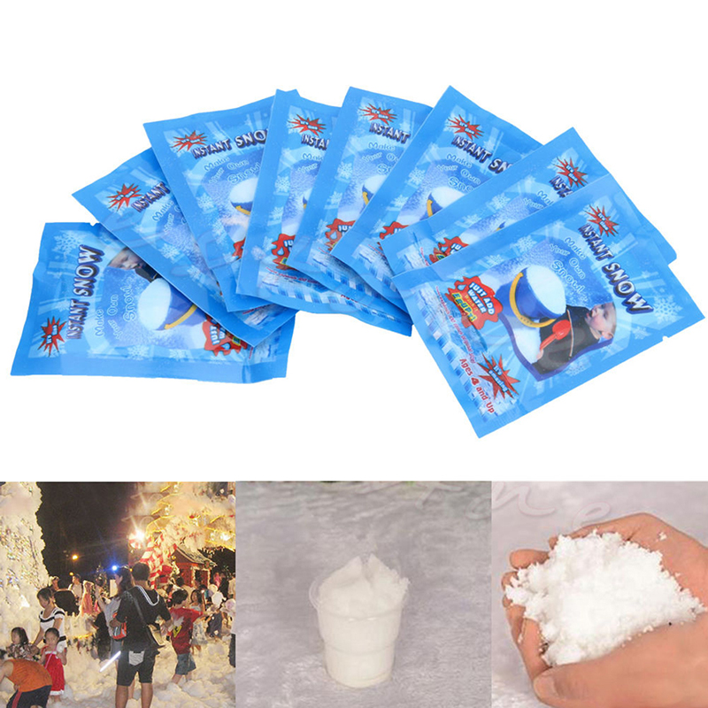 10pcs lots Christmas Fake Magic Instant Snow Fluffy Frozen Party Supplies Absorbant Decorations For Christmas Wedding Snowflake in Artificial Snow Snowflakes from Home Garden