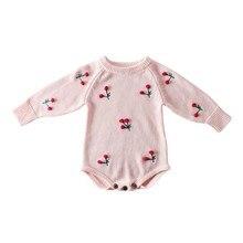 Bebek kız Romper sonbahar yenidoğan bebek Romper uzun kollu örme bebek giysileri pamuk kiraz bebek bebek tulum kız giysileri