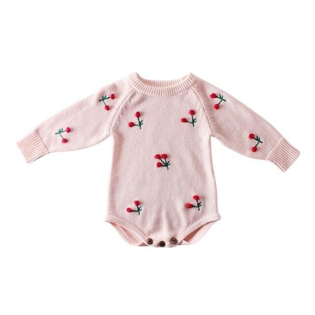 תינוקת Romper סתיו יילוד תינוק Romper ארוך שרוול סרוג תינוק בגדי כותנה דובדבן תינוקות תינוק סרבל ילדה בגדים