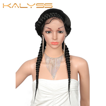 """Kalyss 24"""" Fully Hand-Braided Swiss Lace Front Dutch Twins Braided Wigs with Baby Hair for Women No Split Ends Black Braided Wig"""