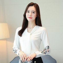 Korean Fashion Chiffon Women Blouses Floral Embroidery White Shirts Plus Size XXXL