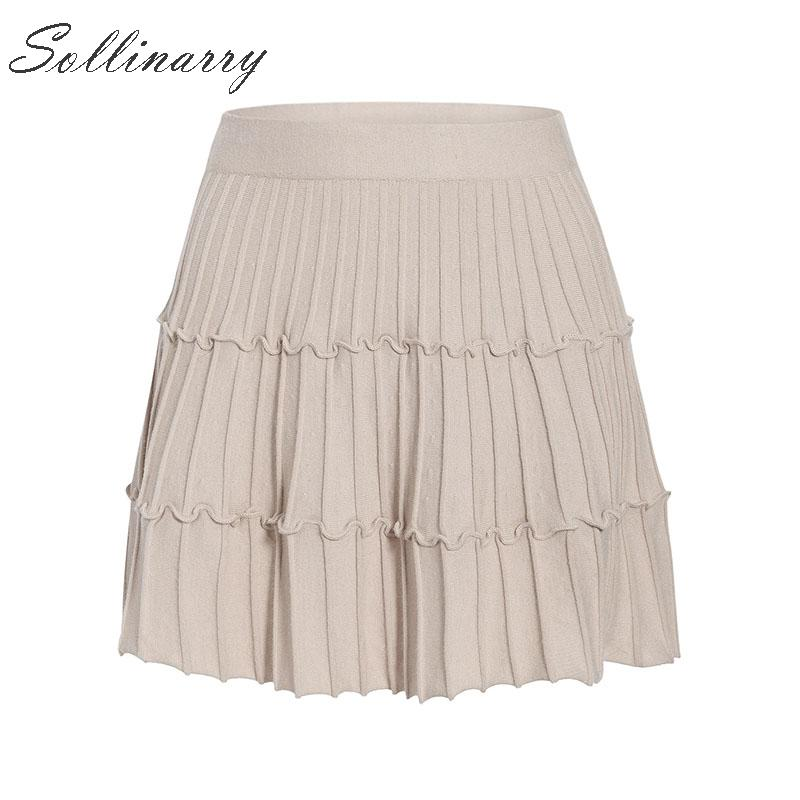 Image 5 - Sollinarry 2019 Knitwear Short Skirts Women Autumn Retro Solid Casual Ruffles Mini Skirts Female High Waist Winter Sexy Skirts-in Skirts from Women's Clothing