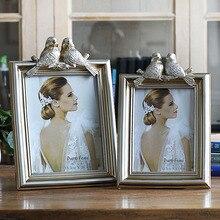 Photo-Frame Home-Decor Retro White Black European-Style Grid Resin Holiday-Gift Living-Room