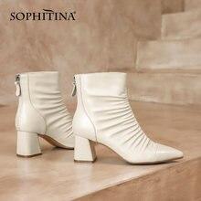 Sophitina/Модные ботильоны женские кожаные ботинки высокого