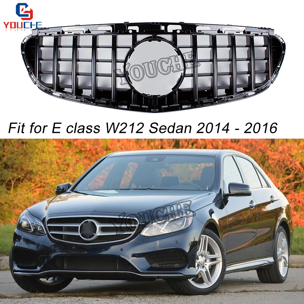 W212 GT Grille Replacement Front Grill for Mercedes E W212 Sports AMG Package 4 door Sedan 2014 2015 2016 Black Grille-in Racing Grills from Automobiles & Motorcycles    1