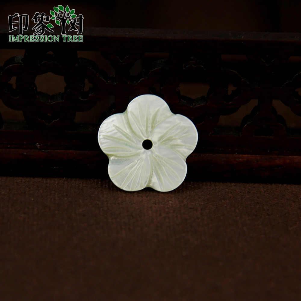 1 pçs 11/17mm cyan flor carven concha contas suave lado flor escudo encantos para feito à mão colar diy jóias fazendo 1911