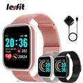 Розовый смарт-браслет Lesfit для женщин и мужчин, умные часы, спортивный браслет с Bluetooth, на запястье Android, цифровой шагомер, фитнес-трекер