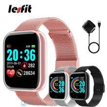Lesfit rosa pulseira inteligente dos homens das mulheres relógio inteligente esporte pulseira bluetooth android faixa de pulso digital pedômetro rastreador de fitness