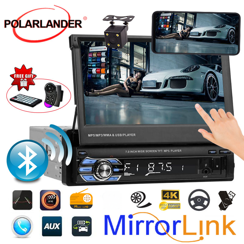 A scomparsa 1 Din Radio Car Audio Stereo 7 pollici MP5 MP4 Lettore Aux/USB/TF/FM/touch screen/bluetooth/3 lingue del menu Specchio Link