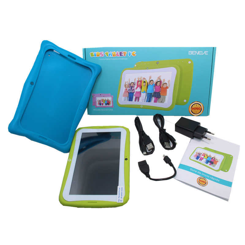 7 Inch  M760 Kids Tablet PC Quad Core 1+16GB Dual camera RK3126  Gift Protection Silicone Case  Android 7.1 1024*600