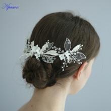 Новое поступление, ювелирное изделие, свадебный головной убор, кружевная лента для волос, для невесты, жемчужная расческа для волос, женские свадебные аксессуары для волос, керамические заколки для волос S8212