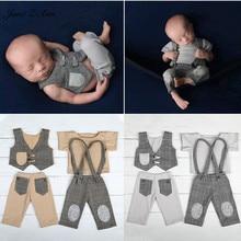 Suit Outfits Dress Vest Photography-Props Plaid Gentleman Newborn Baby-Boy Twins Pants