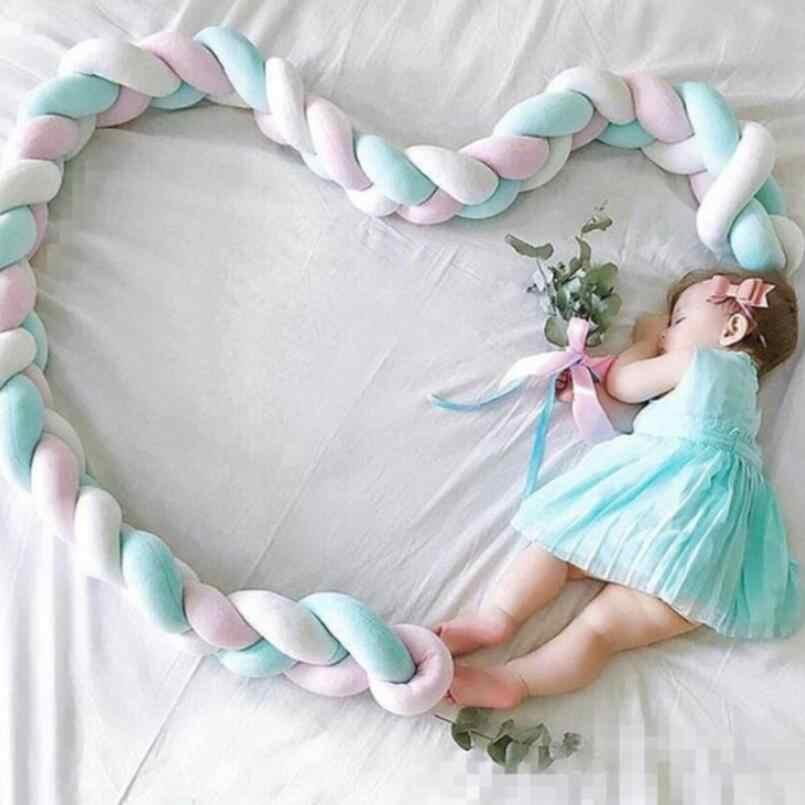 Paragolpes para cama de recién nacido de 2M de largo hecho a mano con nudos, almohada larga trenzada con nudos para cama de bebé, nudo para cuna, accesorio de foto de decoración para habitación infantil