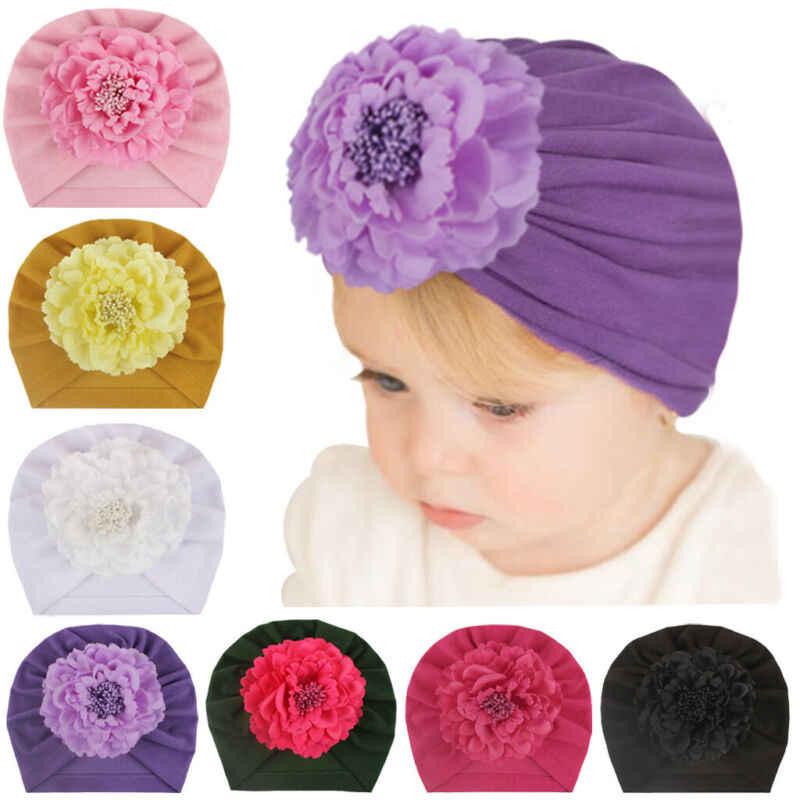 2020 ใหม่แฟชั่นดอกไม้เด็กทารกหมวกเด็กแรกเกิดยืดหยุ่นเด็ก Turban หมวกสำหรับหญิง 7 สีผ้าฝ้ายนุ่มทารกทารก Beanie หมวก 1 PC