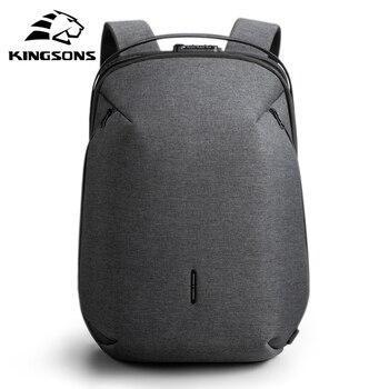 Mochila Kingsons para hombre apta para ordenador portátil de 15 pulgadas, recargable...