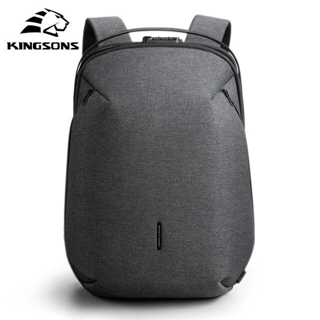 Kingsons plecak męski pasuje 15 cal laptopa USB ładowania przestrzeń wielowarstwowa podróży torba męska Anti-theft Mochila
