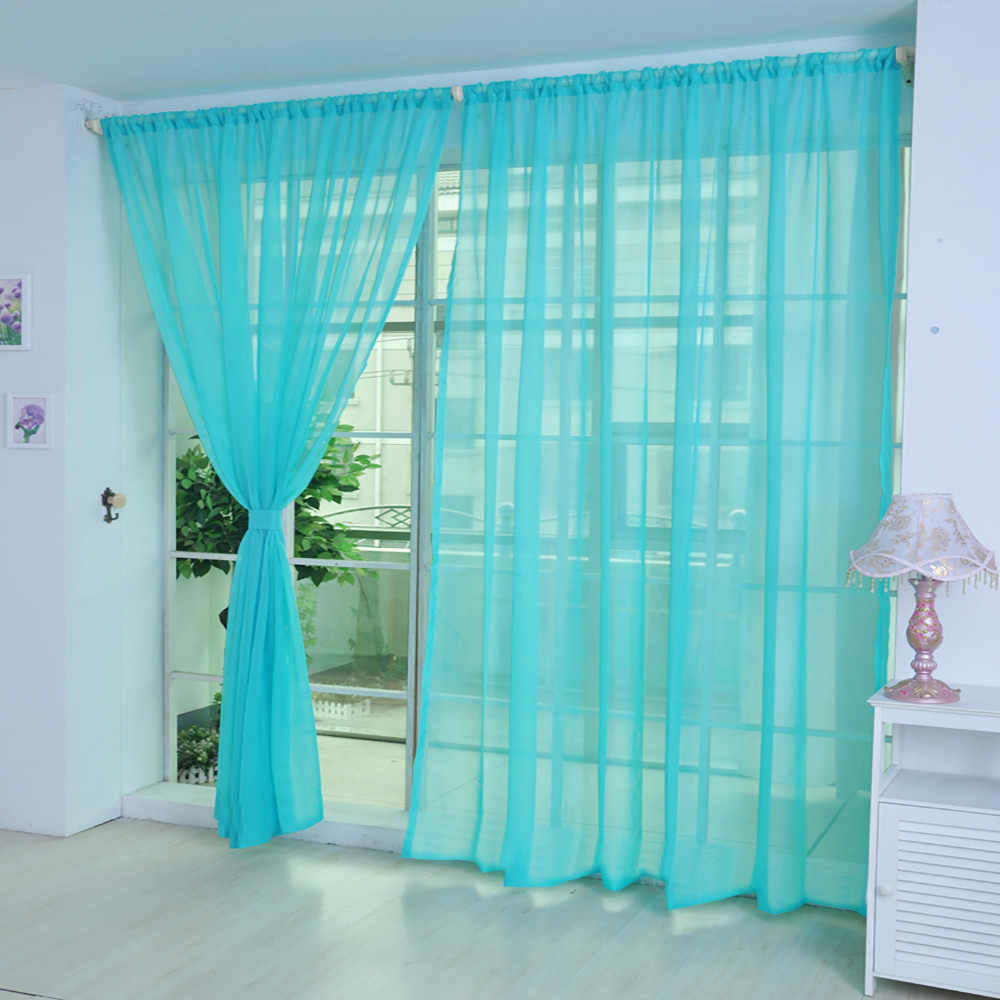 1 PCS High quality Voile Curtain Pure Color Tulle Door Window Curtain Drape Panel washable soft comfortable Sheer Scarf Valances