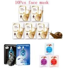 10Pcs Mixed Snail Hyaluronic Acid plant saffron Black Face Mask Moisturizing Whitening  Anti-Aging Facial Masks Korean Skin Care