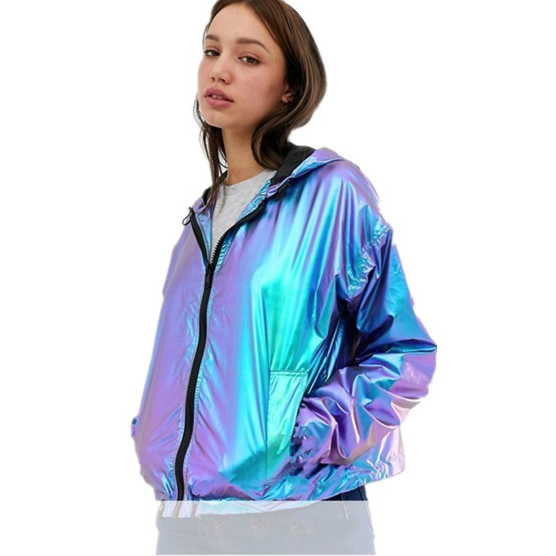 Fashion Women Waterproof Loose Hooded Jacket Casual Blue Shiny Metallic Reflective Jacket Oversize Spring Long Sleeve Girls Coat