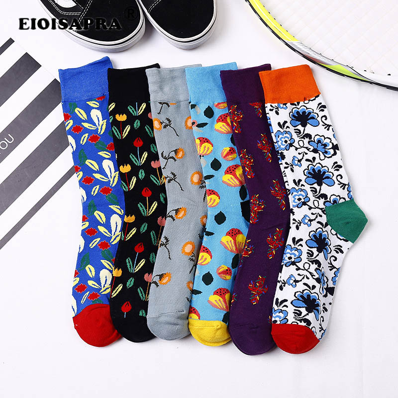 Autumn/Winter Colorful Couples Tide Socks Fashion Hip Hop Plant Pattern Funny Sock Breathable Combed Cotton Skateboard Sox