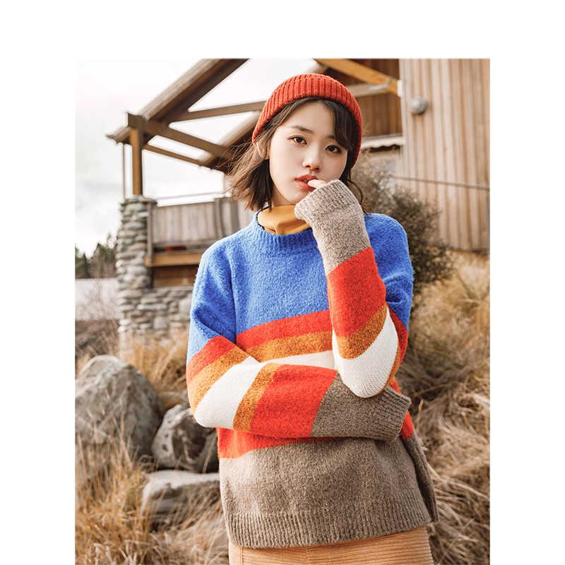 INMAN 2018 겨울 신착 여성 라운드 칼라 스트라이프 따뜻한 루즈 여성 풀오버 스웨터