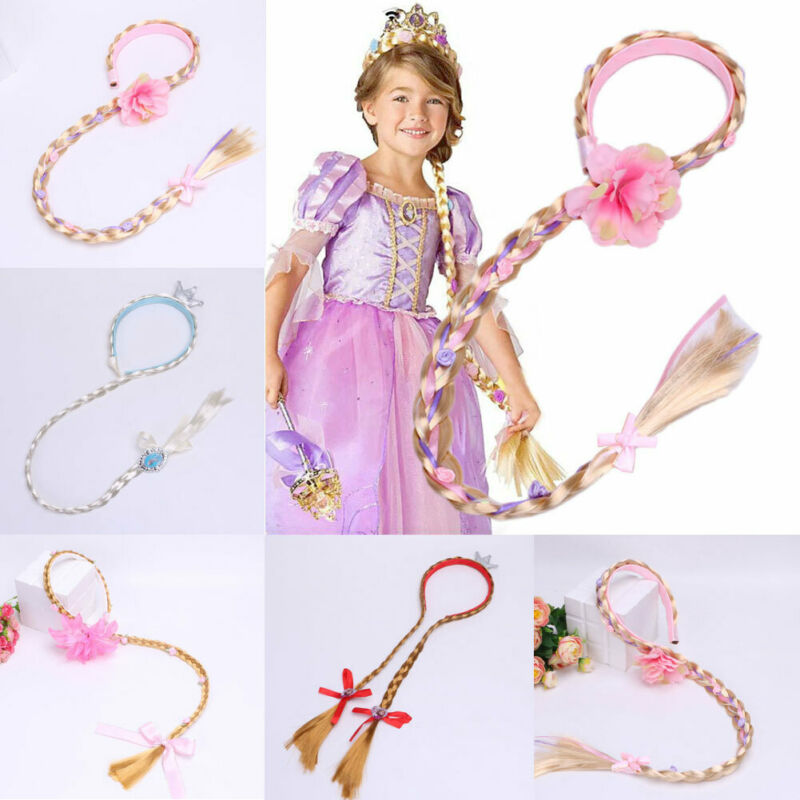 Girl Ponytail Blonde Cosplay Weaving Braid Tangled Rapunzel Princess Floral Headband Hair Girl Wig Birthday Party Dressup