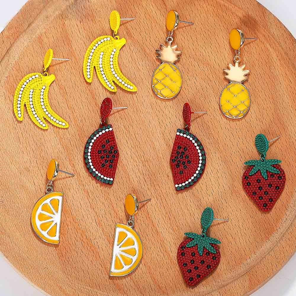Fashion Fruit Stars Banana Pineapple Dangle Earrings Boho Women Shell Cherry Declaration Drop Jewelry Gift Wholesale