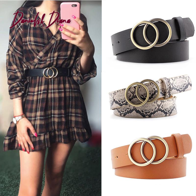 Double Ring Women Belt Fashion Waist Belt PU Leather Metal Buckle Heart Pin Belts For Ladies Leisure Dress Jeans Wild Waistband