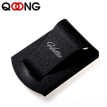 QOONG Custom Lettering Stainless Steel 3 Color Slim Sleek Money Cash Clip Clamp Double Sided Credit Card Holder QZ40-006 qoong stainless steel double sided metal money clip fashion simple silver black dollar cash clamp holder wallet for men women