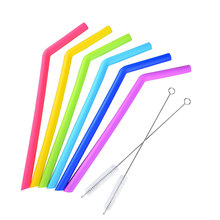 6pcs Bar Flexible Party Reusable Restaurant Bend Home Kitchen Drinking Non Toxic Silicone Straw(China)