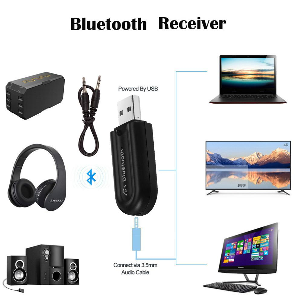 Wireless Bluetooth 4.0 Audio Stereo Music Speaker 3.5mm Car Aux Adapter+Cable