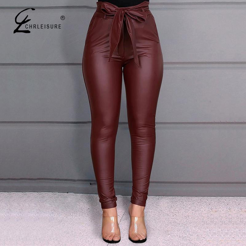 CHRLEISURE Fashion Casual PU Pants Black Lace Up Leather Pants High Waist Bow Trousers Women