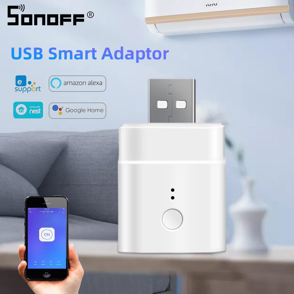 SONOFF Micro Mini USB Adaptor WIFI Switch 5V Wireles USB Power Adaptor Smart Home Switch via eWeLink APP Google Home Alexa(China)