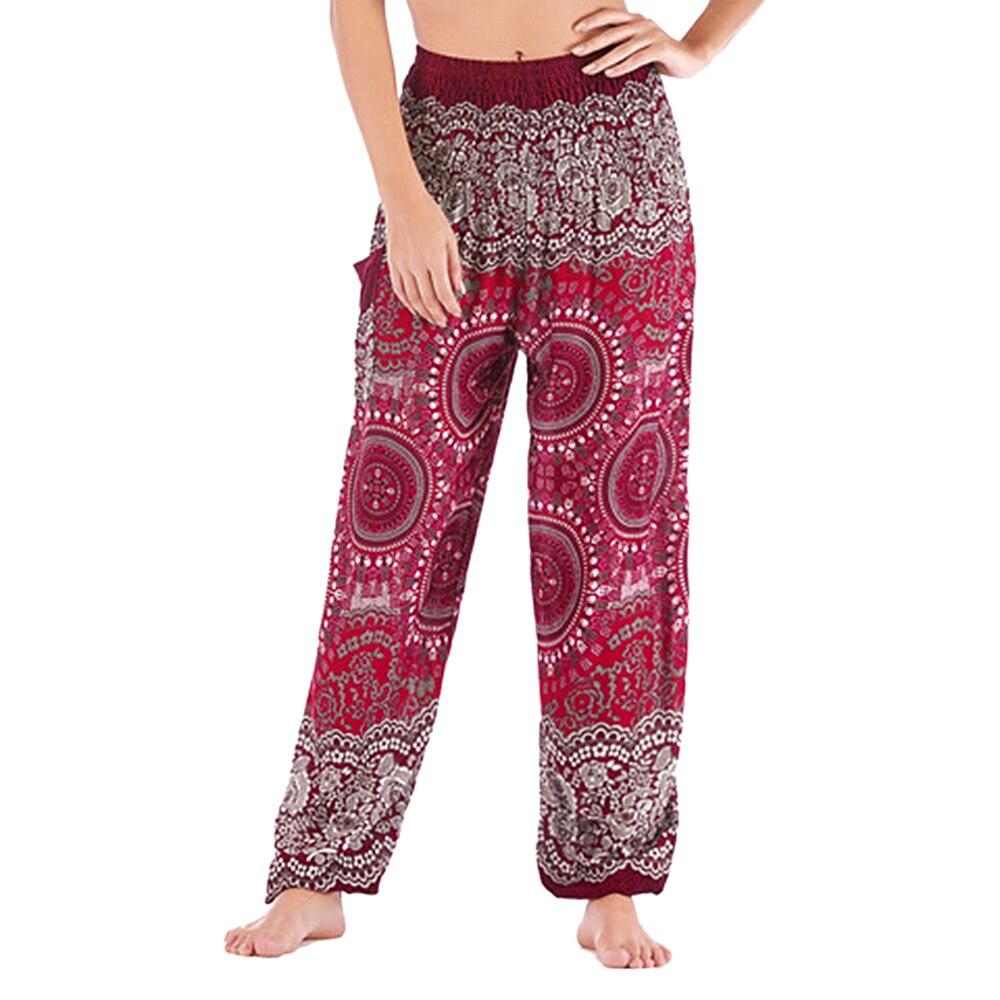 Fashion Casual Plus Size Print Pants Woman Vintage Elastic Waist Summer Pants Female Streetwears Bohemian Trousers Beach Capris