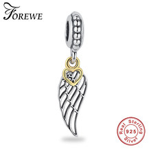 Forewe 2019 New Arrival 925 Sterling Silver Hollow Angel Wings Beads Fit Original Charms Bracelet Jewelry Gift(China)