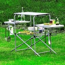 K-STAR Outdoor Folding BBQ Tisch Tragbare Aluminium Legierung Tisch Multifunktionale Regal Mit Haken Selbst-fahren Touren Picknick