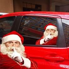 Autocollants en vinyle pour vitres de voiture, 2 pièces, côté droit/gauche, noël, fenêtre de véhicule, père noël