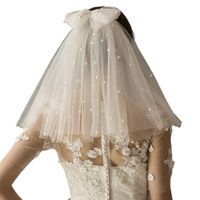 2 Tier Women Short Shoulder Length Wedding Veil with Bowknot Comb Imitation Pearl Beaded Pleated Bridal Hair Accessories