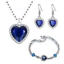 Titanic coração do oceano colares para as mulheres pêssego coração azul cristal zircão conjuntos de jóias feminino casamento noivado jóias