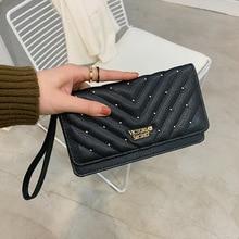 Ladies New Wallet Large Capacity Ladies Long Clutch Fashion Rivet Wallet Pu Wallet card bag