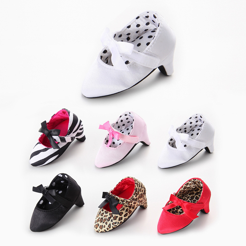 Newborn Baby Girls Shoes High Heels Soft Sole Toddler Bow Leopard Princess Crib Shoes