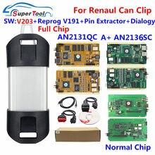 Para renault pode clipe v203 + reprog v191 auto interface de diagnóstico cypess an2131qc an2135sc chip completo para pode clipe carro 1998-2017