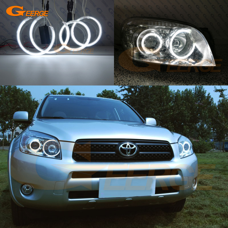 Excellent 4 Pcs Ultra Bright CCFL Angel Eyes Kit Halo Ring For Toyota Rav 4 Rav4 III 2005 2006 2007 2008 Projector Headlight
