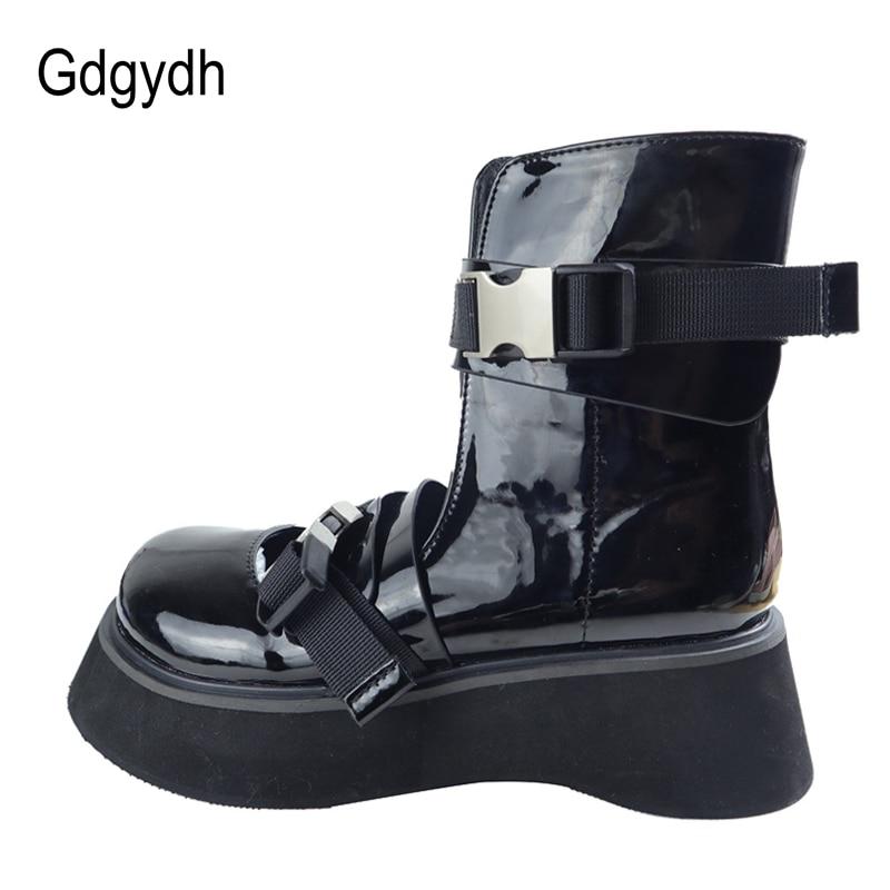 Gdgydh-Botines de charol con punta redonda para mujer, botas de moto femeninas, con hebilla de correa al tobillo, para otoño, 2021