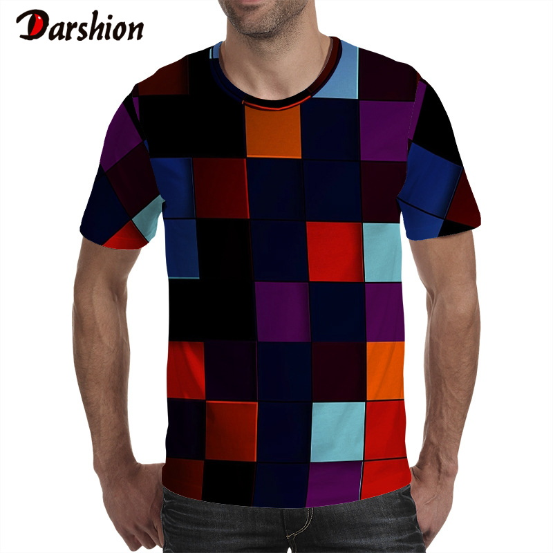 Summer Style Colorful Printing Men's T-shirt Funny Tshirt Illusion Black And Red Graphics Short Sleeve O-neck Pullover 3D Tshirt