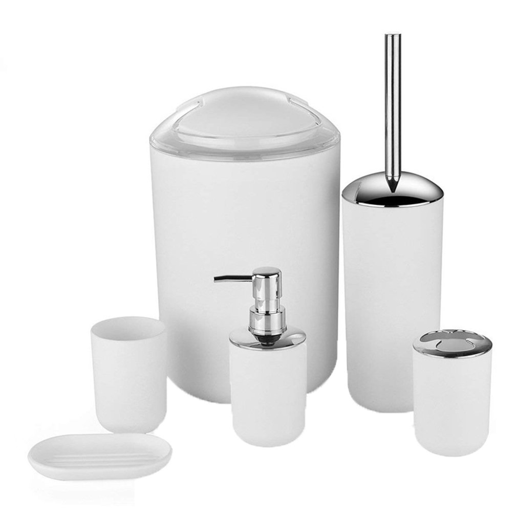 Creative European Plastic Bathroom 6Pcs Set Toiletries Set Bathroom Hotel Household Trash Can Toothbrush Cup Supplies