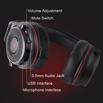 EKSA-auriculares E900 Pro para Gamer, cascos con USB 7,1/3,5mm, profesionales, con micrófono, Control de silencio, luz LED, para PC y móvil 4